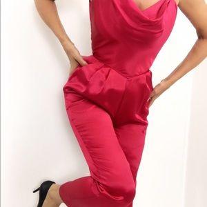 Vintage 80s Cherry Red Satin Jumpsuit